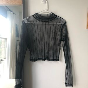 Mesh mock neck top, great condition!